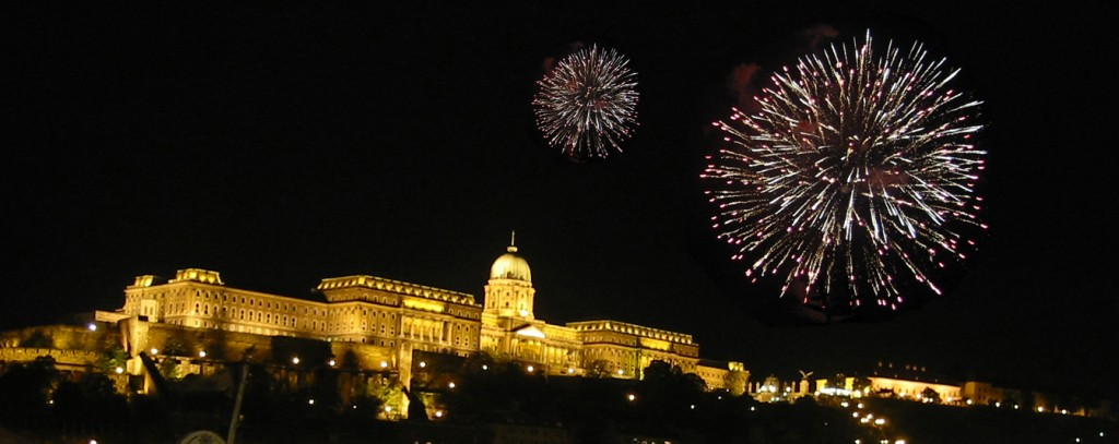 Budapest castle with fireworks on August 20th